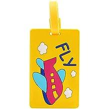 Sweety colorido Cute Lovely silicona Maleta Equipaje de viaje identificador Equipaje Etiquetas vacaciones bolsa de equipaje ID Nombre Dirección Soporte Yellow Fly