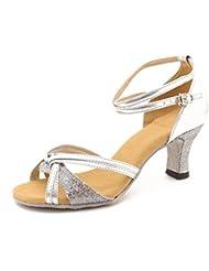 Minetom Femme Pour Dame Talon Bas Chaussures de Danse Paillettes Bout Rond Glitter Peep Toe Latin Lanière de Cheville Boucle