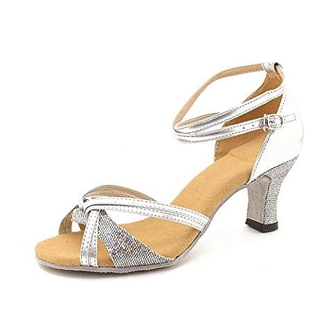 Minetom Femme Pour Dame Talon Bas Chaussures de Danse Paillettes
