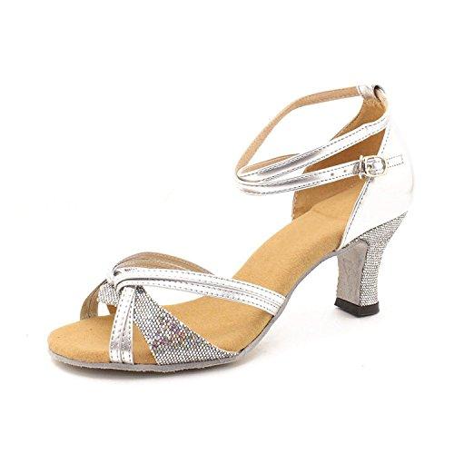 Minetom donne elegante sandali danza scarpe in mezzo tacco sandali con strappy fibbia estate latino tango argento 39
