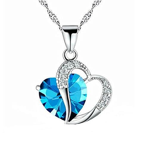 Collier Pendentif pour Femme, Pendentif deux cœurs un en zircon l'autre en argent, chaîne ciselée avec boîte à bijoux
