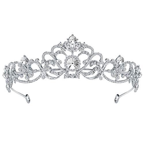 Elegante Luxus Krone Voller Diamant Blume Perle Tiara Stirnband Damen Schmuck (Mit Karma Diamant Ring)