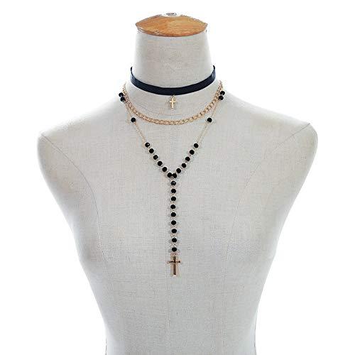 TLLAMG Halskette Crystal Bead Choker Rosenkranz Steckverbinder Kruzifix Kreuz Anhänger Halskette Weiblich MännlichSchmuck, Yf
