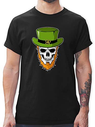 Bärtige Kostüm Lustige - St. Patricks Day - St. Patricks Day - Totenkopf - XXL - Schwarz - L190 - Herren T-Shirt und Männer Tshirt