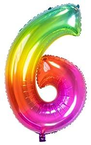 Folat Globo de lámina Yummy Gummy Rainbow Número 6-86 cm, multicolor (63246)