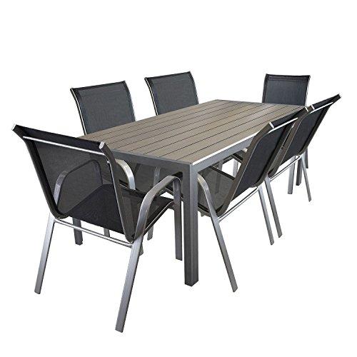 Multistore 2002 7tlg. Sitzgarnitur Aluminium Polywood Gartentisch 205x90cm Stapelstuhl pulverbeschichter Gartenstuhl mit Textilenbespannung Terrassenmöbel Gartengarnitur Sitzgruppe
