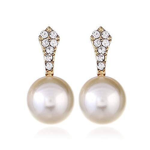 ZLL Neuheit Schmuck - Europäische Und Amerikanische Mode Perle Ohr/Damen Anhänger Ohrringe/K Gold Perle Weiße Ohrringe,Perlweiss,Einheitsgröße (Perlen Neuheit Großhandel)