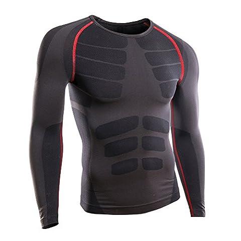 Rmine Herren Funktions Unterhemd Unterwäsche Kompressions T-Shirt (Grau-rot, XL)
