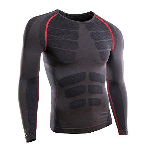 Schwere Thermo-unterwäsche (Rmine Herren Funktions Thermo Unterhemden Unterwäsche Kompressionsshirt Langarm Warme (Grau-rot, M(EU)))