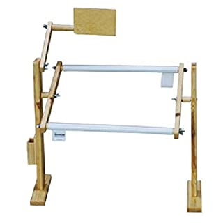 A Craft / Buttons 9/14/32CT Cross Stitch Frame Tabletop Floor Stand Wooden EmbroideryTapestry Hoop (9CT Table top)