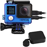 SOONSUN Side Open Protective Skeleton Housing Case With LCD Touch Backdoor And Standard Protective Housing Lens Cap Cover For GoPro Hero 4 Silver Black Blue (blue)