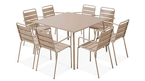 Oviala Table de Jardin carrée et 8 fauteuils en métal, Palavas