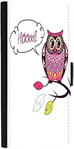 Snoogg Cute Vector Owl Hoooot Carddesigner Protective Flip Case Cover For Sam...