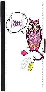 Snoogg Cute Vector Owl Hoooot Card Designer Protective Phone Flip Case Cover For Xiaomi Mi 4
