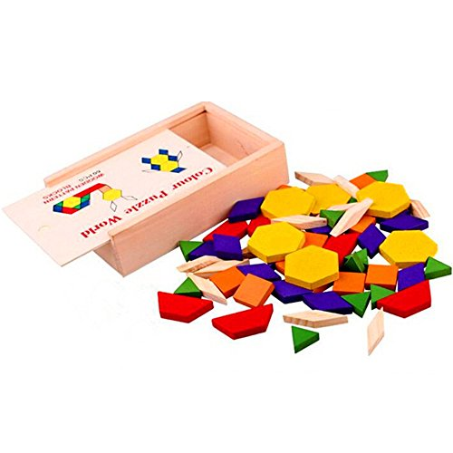 Deanyi Bunte Holz Tangram 60 Stück Set Puzzle DIY Pädagogisches Puzzle Halloween Spielzeug für Kinder