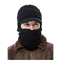 Tukistore 1 Pcs Warm Knitted Hat with Scarf Winter Fleece Lined Hat with Scarf Winter Warm Neck Ski Hat for Women Men Black