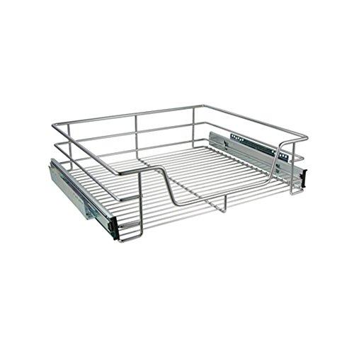 COM-FOUR® ausziehbare Teleskop-Schublade zum Nachrüsten Ihrer Küche für 60 cm Küchenschränke und Regale, 14 x 45 x 49,5 cm