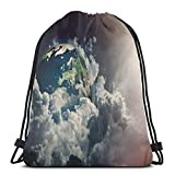 Jiger Drawstring Tote Bag Gym Bags Storage Backpack, Abstract Planet Earth View with Majestic Clouds Sun Rays and Stars,Very Strong Premium Quality Gym Bag for Adults & Children