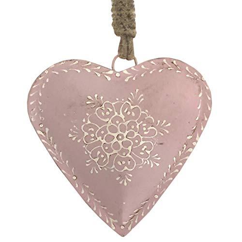 L'ORIGINALE DECO Cœur à Suspendre en Métal Fer Patiné Rose 12 cm x 12 cm