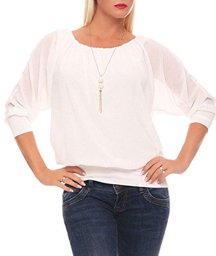 Malito Damen Bluse mit Passender Kette | Tunika mit u00be Armen | Blusenshirt mit breitem Bund | Elegant - Shirt 1133 (weiß)