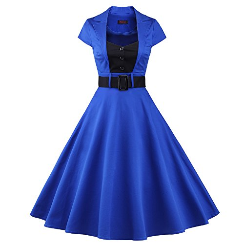 ILover 50s Retro vintage Rockabilly kleid Hepburn Stil shirt Partykleid Cocktailkleid Blau 3XL (Rockabilly-retro-shirt)