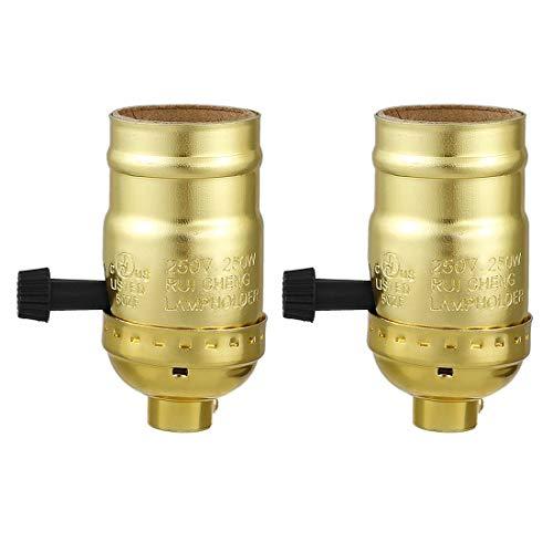 ZCHXD 2 Pcs 3 Way Lamp Socket Holder UL Listed E26 Type Removable Turn Knob Aluminum Shell Brass -