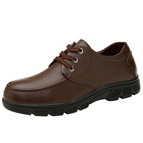 Spades & Clubs Herren Schuhe mit Blockabsatz, glattes Leder, Braun - braun - Größe: 10 uk (Soft-toe-oxford Athletic)