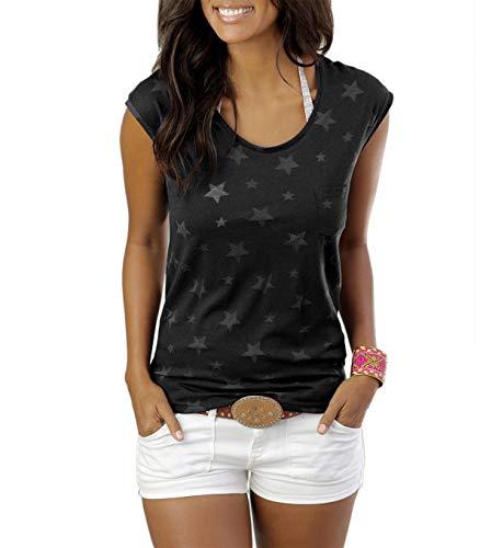 ELFIN Damen T-Shirt Kurzarmshirt Basic Tops Ärmelloses Tee Allover-Sternen Druck Shirt Sommer Shirt