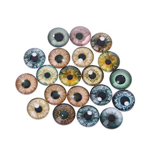 Xuniu 20 Stücke Glas Puppenaugen für DIY Handwerk Augäpfel Für Dinosaurier Auge Zubehör Handgefertigte 8mm / 12mm / 18mm