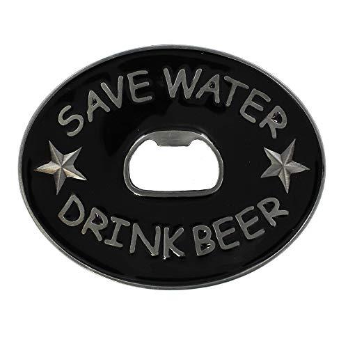 eeddoo® Gürtelschnalle - Save Water Drink Beer Flaschenöffner (Buckle für Wechselgürtel für Damen und Herren | Belt Frauen Männer Oldschool Rockabilly Metall Bier Bar Pub Rock Biker Western Trucker) -