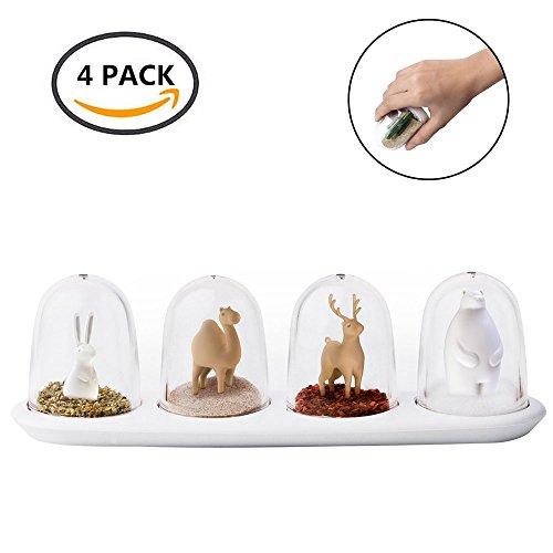 4Stück Küche Salz Pfefferstreuer Set, Kunststoff Würze Dosen, Creative Nature Gewürzgläser, Gewürz Shaker Essig von hongyh, plastik, tier (Reise-mason-jar-glas)