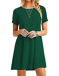 YMING Damen Casual Langes Shirt Lose Tunika Kurzarm T-Shirt Kleid 24  Farbe,XS 6d33303009