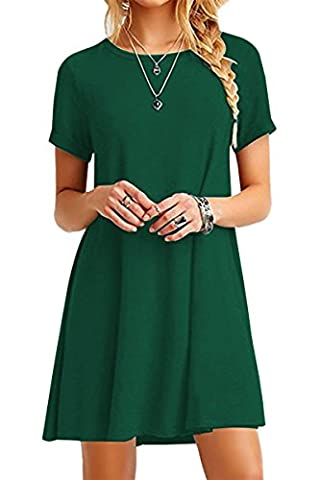 YMING Femme Robe Printemps Automne Col Rond Manches Courtes Robe Loose Chemise,Vert,M / FR 38