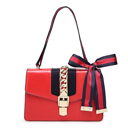 Hochwertige Retro Seide Kette Kette Handtaschen Schulter Messenger Mode Trend Kleine Quadratische Tasche Tagesrucksack,Red-25 * 16 * 9cm -