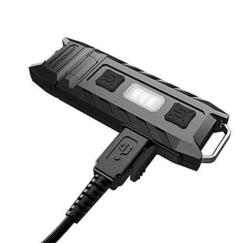 LED Schlüsselbundleuchte USB Wiederaufladbar Schlüsselanhänger Licht - Neigungsleuchte für Arbeitslicht, Rot und weiß Doppelte Lichtquelle, 85 Lumen (Kapazität Licht Hohe)