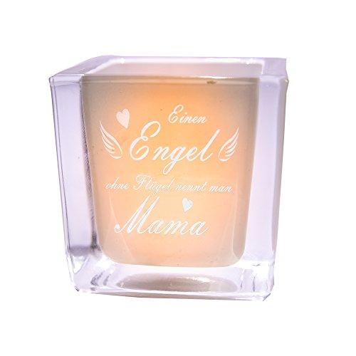 van Hoogen Leonardo Teelicht Engel ohne Flügel nennt Man Mama Windlicht mit Gravur | Geschenk Muttertag + Mutter + Mama + Mutti