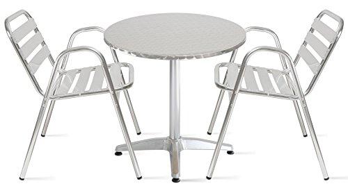 Oviala Table de Jardin Ronde en Aluminium 2 Places