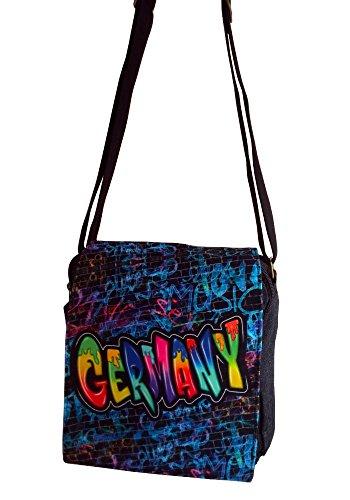 7e374816b5 Robin Ruth Canvas kleine Umhängetasche/Überschlagtasche Germany in  schwarz/blau (Maße: LxHxT