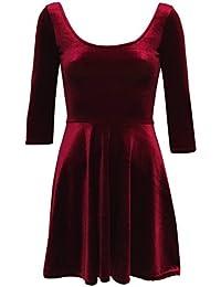 431054021d PILOT Amelia 3 4 Sleeve Velvet Skater Dress in Wine Red