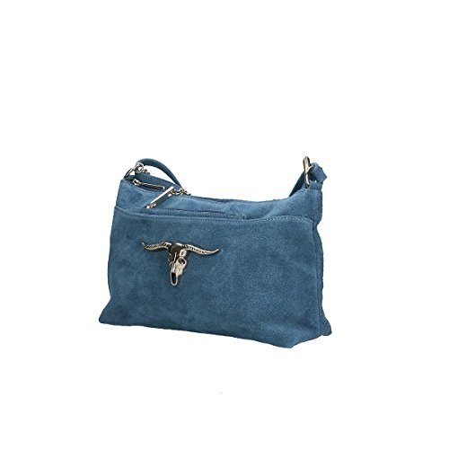 Chicca Borse Borsa a tracolla in pelle 29x17x8 100% Genuine Leather Blue