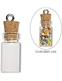 50 Mini Glass Bottles 1-inch Message Treasure Charm Pendant Kit Makes 50 Bottle Pendants