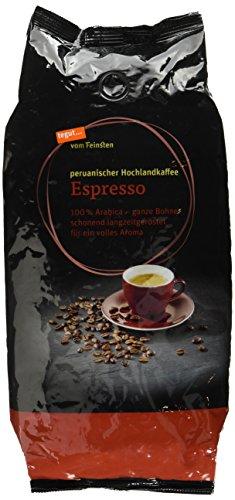 Tegut vom Feinsten Espresso ganze Bohnen (1 kg, peruanischer Hochlandkaffee - Bio 100% Arabica Röstkaffee aus kontrolliert ökologischem Anbau - aus dem Hochland Mittel- und Südamerikas)