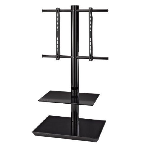 Hama TV-Bodenstand mit 2 Ablagen, für 81 - 140 cm Diagonale (32 Zoll - 55 Zoll), VESA bis 600 x 400, für max. 40 kg, schwarz (Tv-ständer Für Flachbildschirme 55)