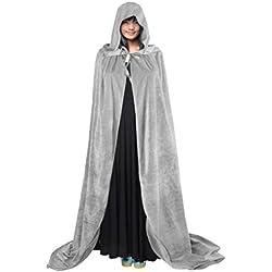 Cabo de Halloween Poncho con capucha con el vestido de la bruja capilla larga de Cosplay del traje de diablo medieval Escudo de maquillaje mujer del hombre del traje unisex Cabo Príncipes adulto