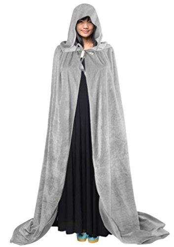 Halloween Cape à Capuche Poncho avec Capuchon Longue Costume Cosplay Sorcière Diable Robe Médiévale Manteau Homme Femme Unisexe Déguisement Maquillage Cape Prince et Princesse pour Adultes-Gris