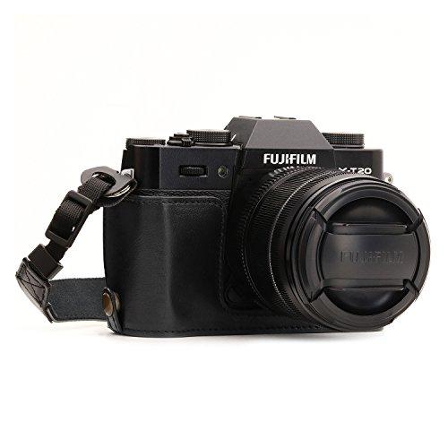 MegaGear mg957Ever Ready Funda de Piel Mitad y Correa con Acceso a la batería para Fujifilm x-t20/X-T10Cámara–Negro