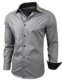 4b1816e6401e Baxboy Herren-Hemd Slim-Fit Bügelleicht Für Anzug, Business, Hochzeit,  Freizeit