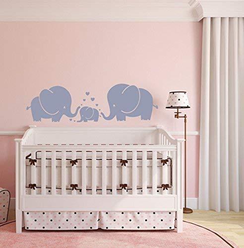 MAFENT Tres Elefante lindo wall sticker, padres e hijos, familia de pared Decoracion para la habitacion del bebe, Cuarto de los niños (gris) (Gris,Large)