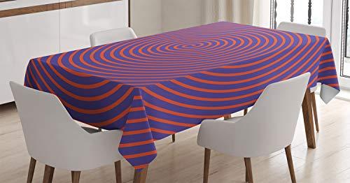 ABAKUHAUS Psychedelisch Tischdecke, Hypnotische Spirale, Für den Inn und Outdoor Bereich geeignet Waschbar Druck Klar Kein Verblassen, 140 x 200 cm, Orange Violett - Hypnotische Violett