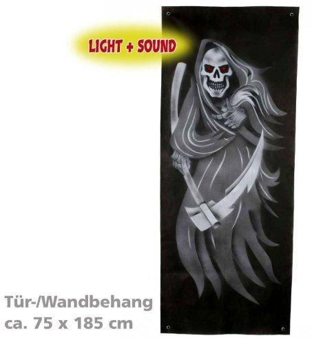 Halloween Türdeko Tür Wand Deko Wandbehang mit Licht und Sound ca. 75 x 185 cm